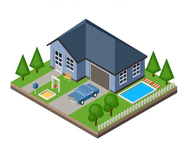 Изолированный изоматный коттедж. сельская жизнь. гараж. зеленая трава. lawn. качели.