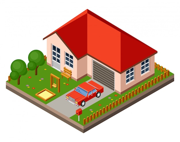 Isolated isomatic cottage. country life. garage. green grass. lawn. swing.