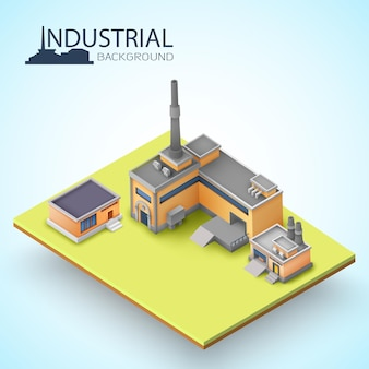 Isolated isometric 3d building and factories composition cut with piece of earth