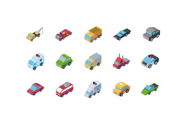 Isolated isometric cars icon set design