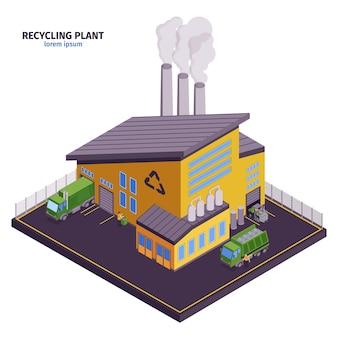 Isolated and isometric garbage illustration with recycling plant headline and modern building