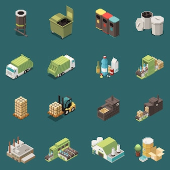 Isolated isometric garbage recycling icon set with separate recycle bag waste baskets and different factory  illustration