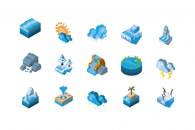 Isolated isometric nature icon set design