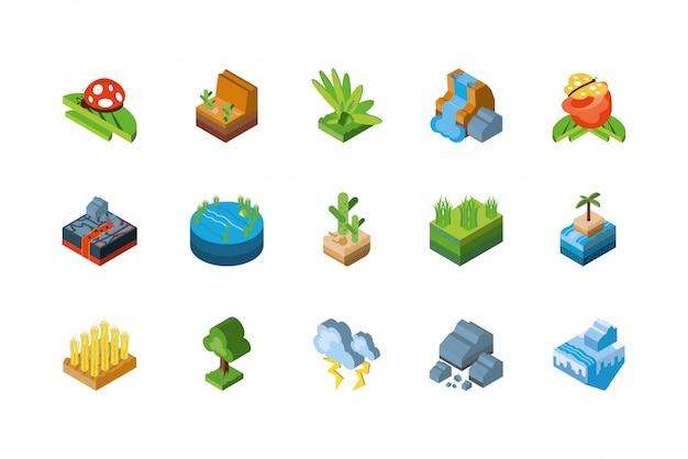 Isolated isometric nature icon set design