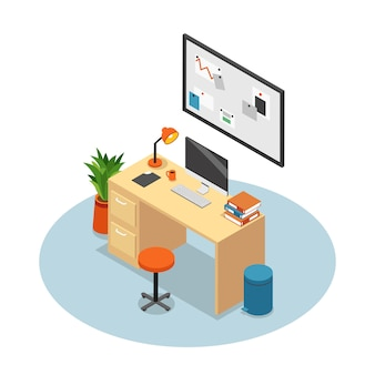 Isolated and isometric office composition workplace with desk monitor chair and table vector illustration
