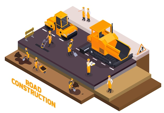 Isolated isometric road construction icon set