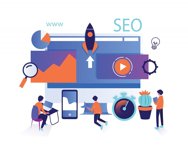 Isolated isometric set people of seo search optimization