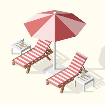Isolated isometric summer illustration of two sunbeds with umbrella, tables and cocktails.