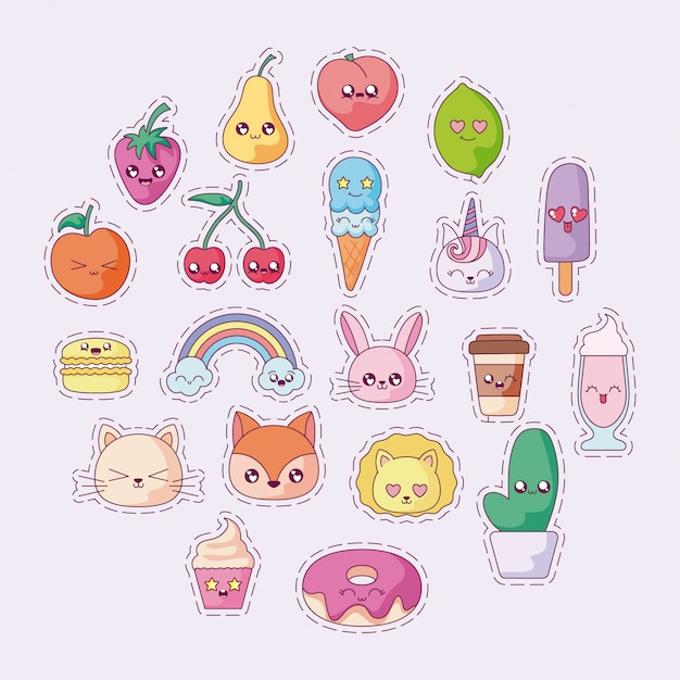 Isolated kawaii cartoons icon set vector design