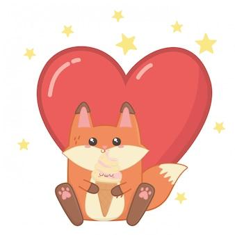 Isolated kawaii of fox cartoon