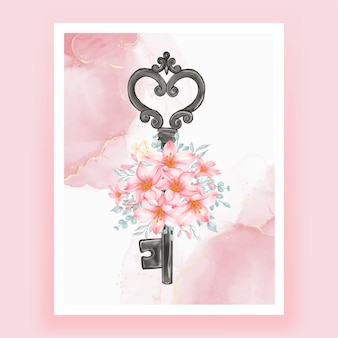 Isolated key flower pink peach illustration watercolor