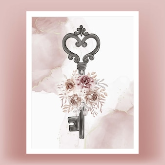 Isolated key flower terracotta illustration watercolor