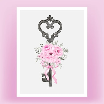 Isolated key with pink ribbon and roses watercolor illustration