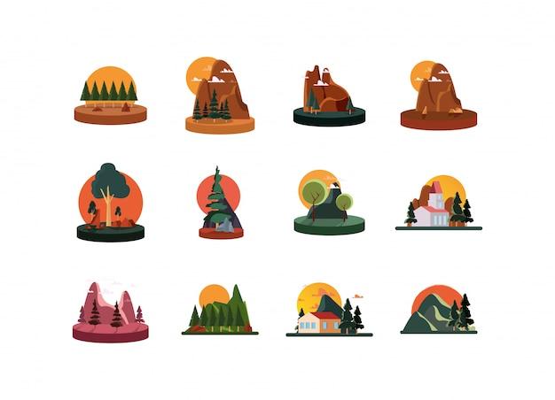 Набор иконок изолированных ландшафтов