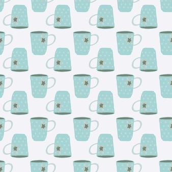 孤立したライトブルーティーカップ落書きシームレスパターン。白色の背景。シンプルなキッチンスタイルのアートワーク。壁紙、テキスタイル、包装紙、布プリントの装飾的な背景。 。