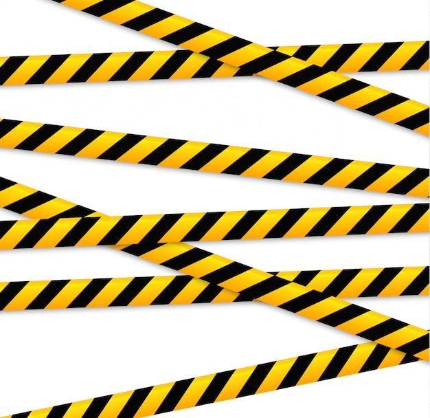 Isolated lines of insulation. realistic warning tapes. signs of danger.