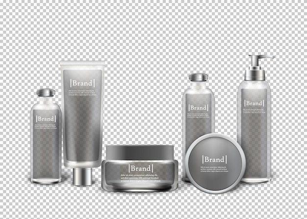 Isolated luxury cosmetic products in bottles.