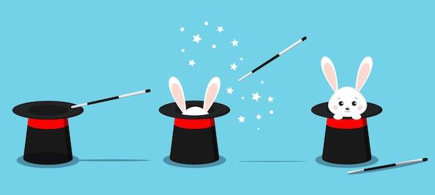 孤立した魔術師の黒い帽子、バニーの耳を持つ魔法の帽子、魔法の杖を持つ帽子の白いウサギ。