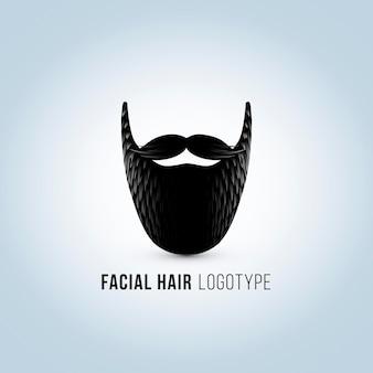 口ひげとひげのロゴと孤立した男性の顔のシルエット