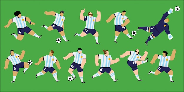 아르헨티나 국가 대표팀의 색상을 입고 격리 된 남자 축구 선수. 11 가지 독특한 위치. 편집 가능한 그림.