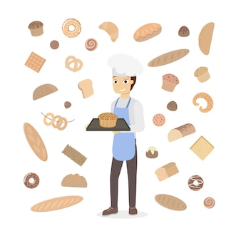 Isolated man baker with pastry on white.