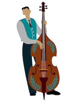 Isolated man playing cello cartoon character, flat doodle vector