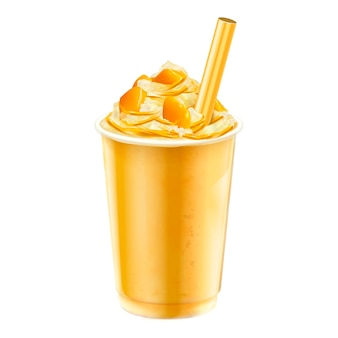 Isolated mango ice shaved takeout cup  on white background