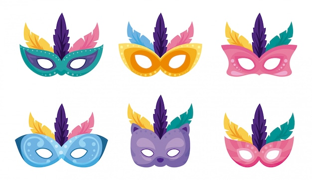 Isolated mardi gras carnival masks set