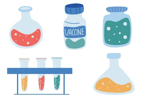 Изолированные медицинские элементы: вакцина, шприц, стеклянные колбы, лекарства. тестирование вакцины от коронавируса. лабораторные инструменты исследования вакцины. векторная медицинская иллюстрация.