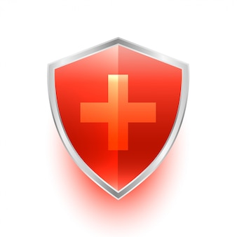 Isolated medical shield protection symbol with cross