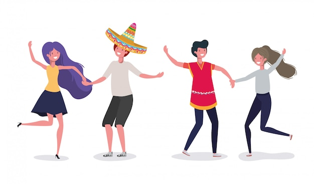 Isolated mexican couples illustration