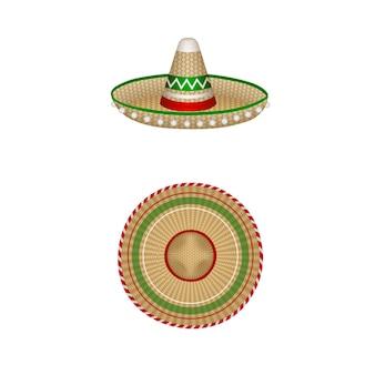 孤立したメキシコのソンブレロイラスト上面図と側面図
