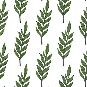 Isolated minimalistic botanic seamless pattern with green foliage branches. simple leaves silhouettes.