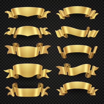 Isolated modern golden shiny ribbon banners