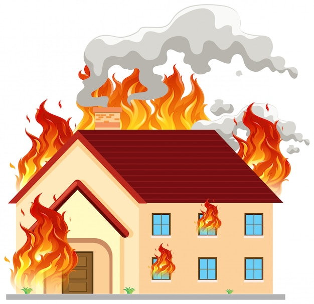 Isolated modern house on fire