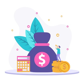 孤立したお金の管理イラストの概念。販促、情報、広告のためのデザイン資料。
