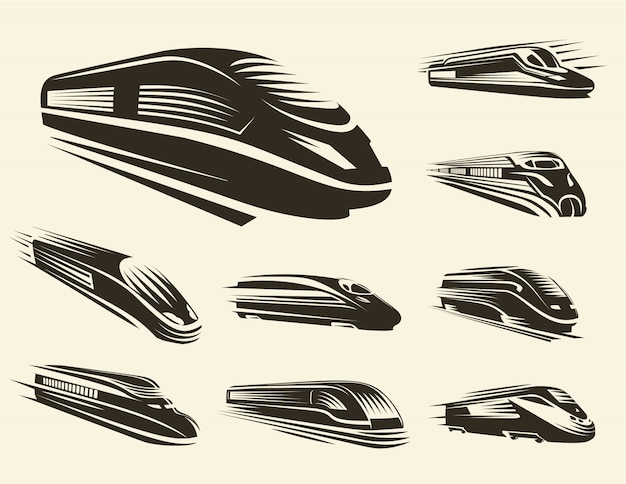 Isolated monochrome modern engraved train logos set