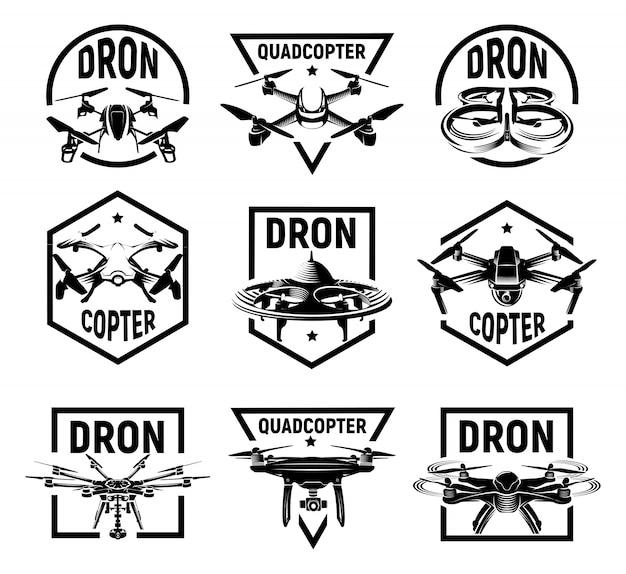 孤立したモノクロquadrocopterロゴコレクション