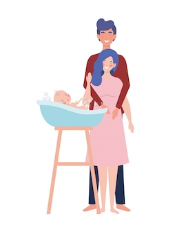 Isolated mother and father with baby
