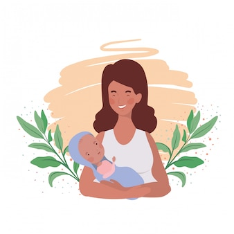 Isolated mother with baby