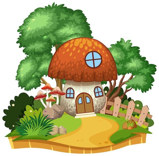 자연 속에서 고립 된 버섯 집