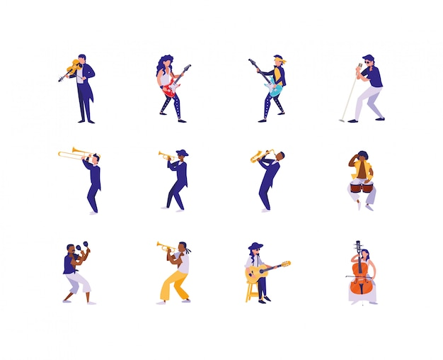Изолированные музыканты с набором иконок музыкальных инструментов
