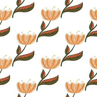孤立した自然の花のシルエットのシンプルなスタイルのシームレスなパターン