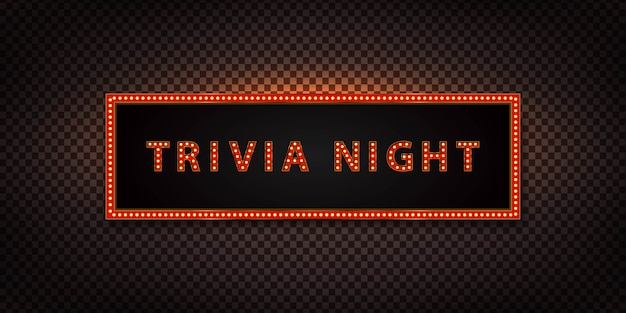 Isolated neon marquee sign of trivia night