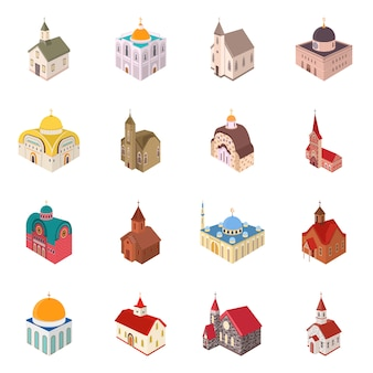 Isolated object architecture and building symbol. collection architecture and clergy