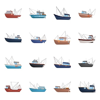 Isolated object boat and fishing . set boat and vessel stock symbol .