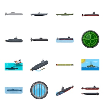 Isolated object of boat and navy symbol. set of boat and deep set