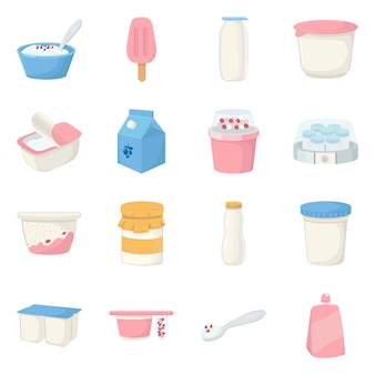 Isolated object of dairy and fresh icon. collection of dairy and food set