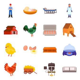 Isolated object of farm and poultry icon. set of farm and agriculture stock symbol for web.