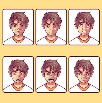 아바타의 고립 된 개체와 아바타의 얼굴 아이콘 세트